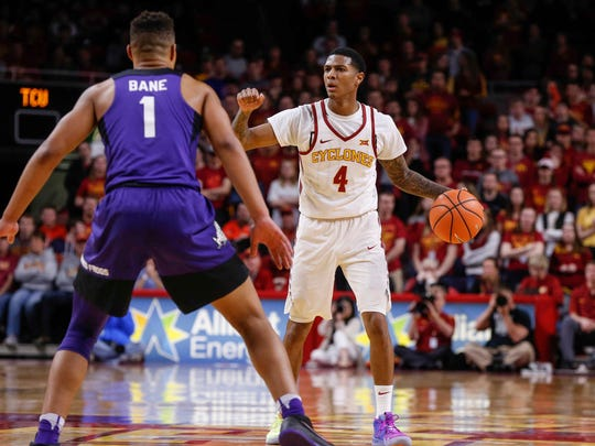 Iowa State senior Donovan Jackson leads a drive in the first half against TCU on Wednesday, Feb. 21, 2018, at Hilton Coliseum in Ames.