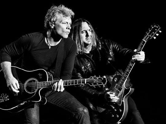 Matt O'Ree, right, jams with Jon Bon Jovi while on tour. The Matt O'Ree Band plays a benefit concert on Friday at the Capital City Country Club.