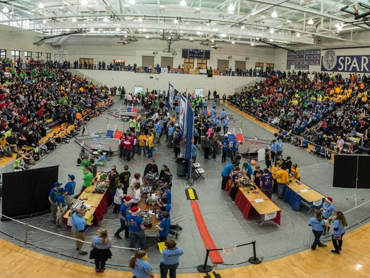 Competitors and spectators at Saturday's FIRST Tech Challenge State Championship at Lakeview High School.