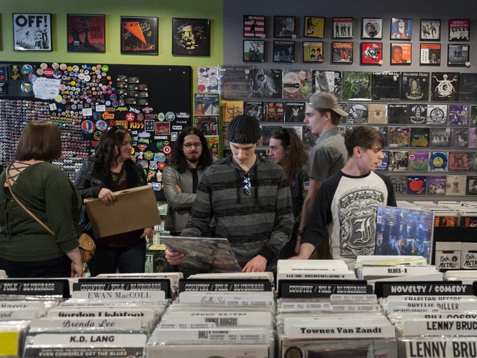 A line-up of in-store performances and bins full of