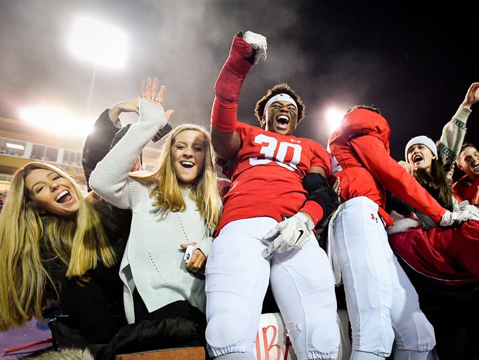 Brentwood Academy's Michael Hunt (30) celebrates with