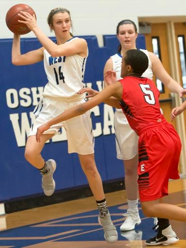 Oshkosh West's Callista Rochon-Baker passes the ball