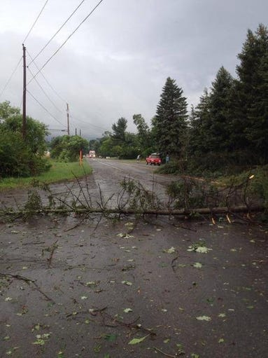 A tree brought down by a storm on Wednesday  blocks a road in Horseheads.