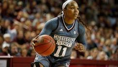 Mississippi State guard Roshunda Johnson (11) dribbles