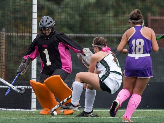 St. Rose goalkeep Sarah Lemonie makes a save. St. Rose vs Raritan Shore Conference Tournament game. 