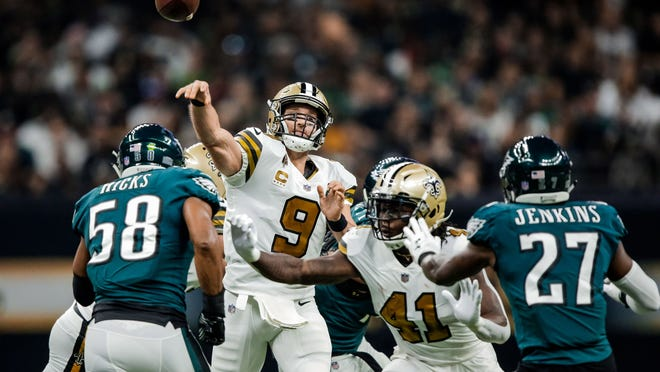 Nov 18, 2018; New Orleans, LA, USA; New Orleans Saints quarterback Drew Brees (9) throws the football in the game against the Philadelphia Eagles during the first quarter at the Mercedes-Benz Superdome. Mandatory Credit: Derick E. Hingle-USA TODAY Sports