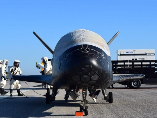 An unmanned Air Force X-37B space plane on Sunday morning