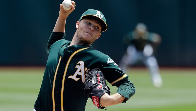 Oakland Athletics starting pitcher Sonny Gray is among the impact pitchers on which the Brewers are doing background work.