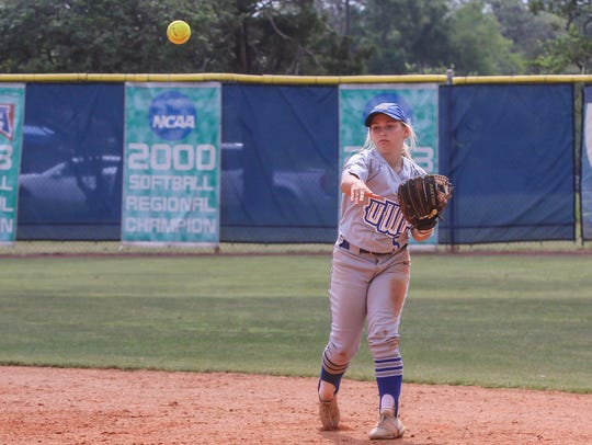 West Florida second baseman Meghan Toney (5) throws