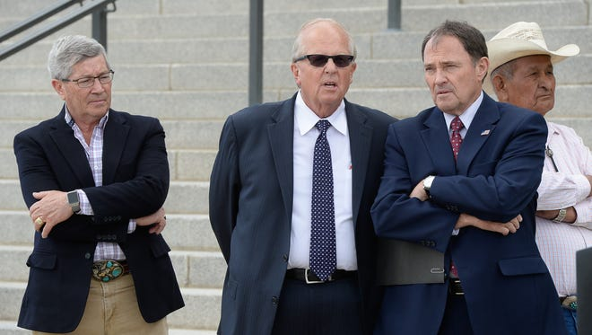 Francisco Kjolseth, AP From left, David Hinkins, Mike Noel, and Utah Gov. Gary Herbert, hold a news conference about a proposed national monument in the Bears Ears area of  Utah at the state Capitol on May 17. From left, David Hinkins, Mike Noel, and Utah Gov. Gary Herbert, hold a news conference about a proposed national monument in the Bears Ears area of southeastern Utah at the state Capitol on Tuesday, May 17, 2016, in Salt Lake City.