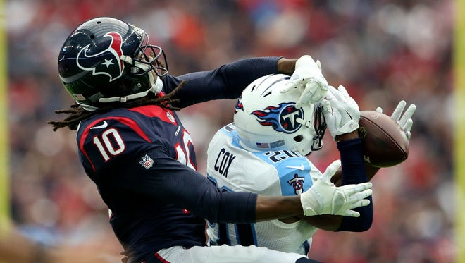 Texans wide receiver DeAndre Hopkins was held to a single catch in Week 4 against the Titans.