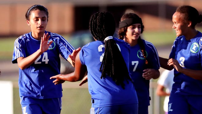 La Vergne's Ayline Mateos (24) celebrates a goal during a recent match. Mateos scored both goals in a 2-1 win over Warren County Thursday.
