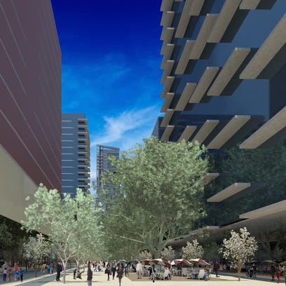 Renderings of proposed West 2nd District in Reno