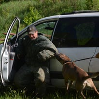 Police dog handlers have real life work during training