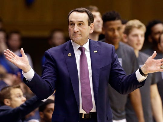 Duke coach Mike Krzyzewski reacts during the second half of the team's NCAA college basketball game against Michigan State in Durham, N.C., Tuesday, Nov. 29, 2016. Duke won 78-69. (AP Photo/Gerry Broome)