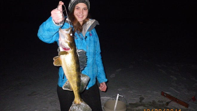 A walleye caught on the Upper Chippewa Basin in December 2014.