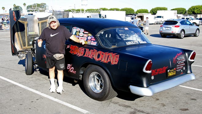 """Allen Ankelein, from Fountain Valley, with his 1955 Chevy Bel Air,. the """"Time Machine"""""""