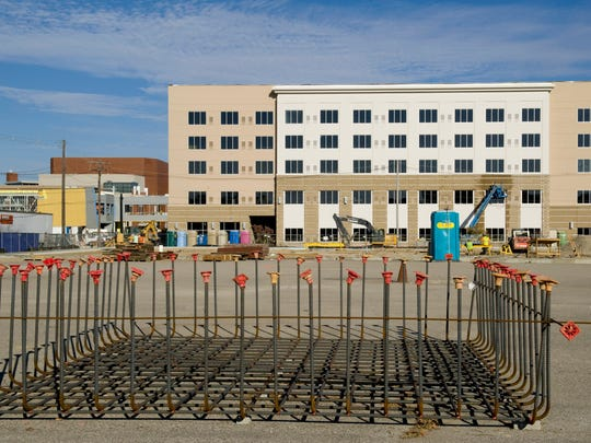 Rebar for the foundation of the under-construction Multi-Institutional Academic Health Science & Research Center is ready for use Monday afternoon.