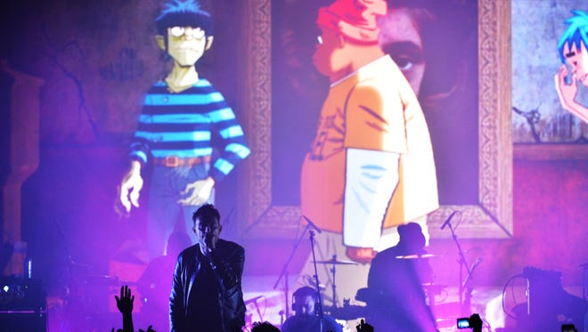 Damon Albarn sings with virtual band Gorillaz during a surprise London show March 24, 2017.