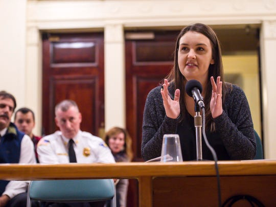 Burlington dispatcher Kathryn Clark details her concerns about a proposed regional dispatch center to the Burlington City Council on Monday, December 18, 2017.