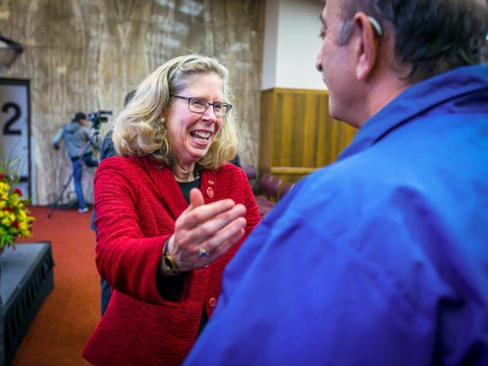 Iowa State's current Dean of Agriculture and Life Sciences Wendy Wintersteen is introduced as the next Iowa State University president Monday Oct. 23, 2017, in Ames, Iowa.