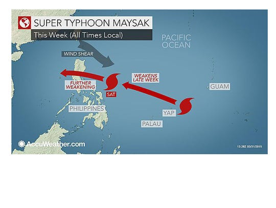 Super Typhoon Maysak is forecast to move west toward