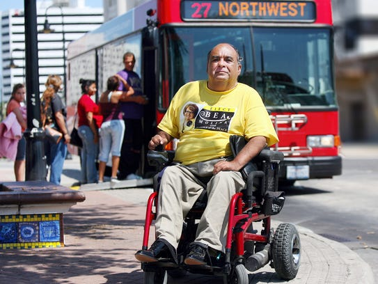 Community activist Abel Alonzo, who has used a wheelchair