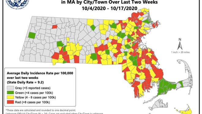 The Massachusetts Department of Public Health reported 14 more cities and towns have been added to the state's high risk category, and locally New Bedford, Westport, Fairhaven and Acushnet are in the red zone.