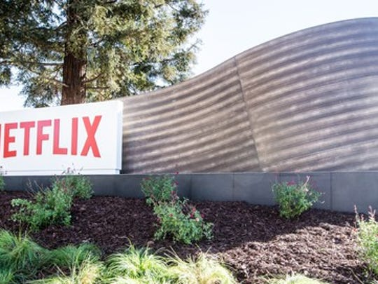 Netflix sign at Los Gatos headquarters.