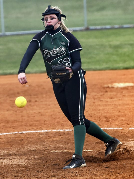 James Buchanan's Taryn Miller (13) pitches against Greencastle on Thursday. The Rockets picked up their first win over the Blue Devils since 2010 with a 6-4 victory.