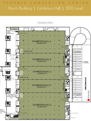 A map of the Phoenix Convention Center's exhibition hall in its North building.