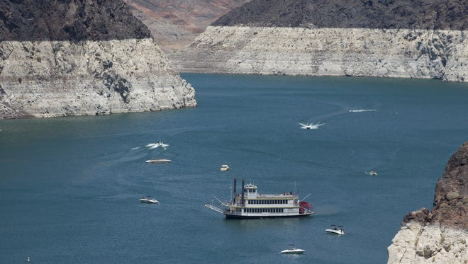 The rock face around Lake Mead shows how much the water has receded.