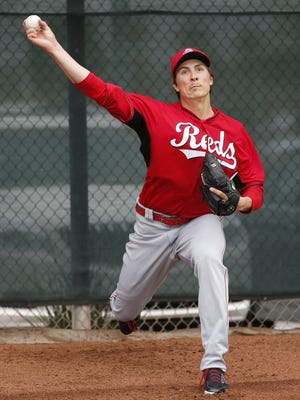 Reds pitcher Homer Bailey throws during spring training.