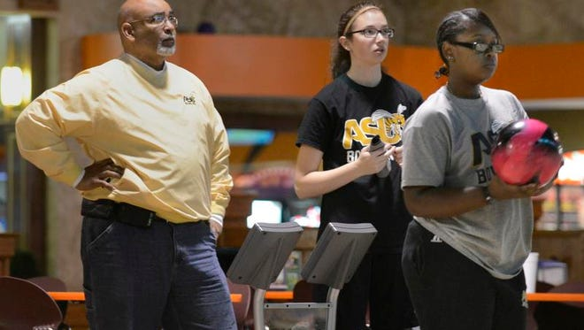 Alabama State University bowling team practices on Wednesday, Feb. 12, 2014, in Montgomery.