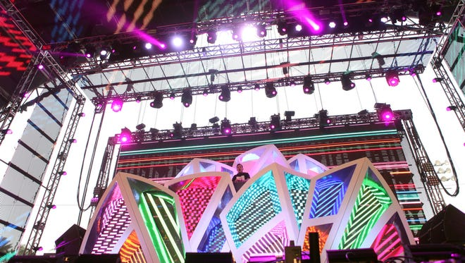 Dillon Francis performs in the Sahara tent during the Coachella Valley Music and Arts Festival on Saturday, April 12, 2014 in Indio, Calif.