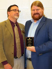 Ryan Ruckel presented the Forrest County Center Citizenship Award for Pearl River Community College to Jamie Massengale of Hattiesburg during a May 2 ceremony.