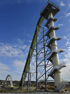 This Nov. 2013 file photo shows Schlitterbahn's new Verruckt speed slide/water coaster in Kansas City, Kan. A 12-year-old boy died Sunday, Aug. 7, 2016, on the Kansas water slide that is billed as the world's largest, according to officials. Kansas City, Kan., police spokesman Officer Cameron Morgan said the boy died at the Schlitterbahn Waterpark, which is located about 15 miles west of downtown Kansas City, Missouri. Schlitterbahn spokeswoman Winter Prosapio said the child died on one of the park's main attractions, Verruckt, a 168-foot-tall water slide that has 264 stairs leading to the top. Jill Toyoshiba/The Kansas City Star via AP