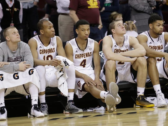 Central Michigan's bench watches in the final minutes
