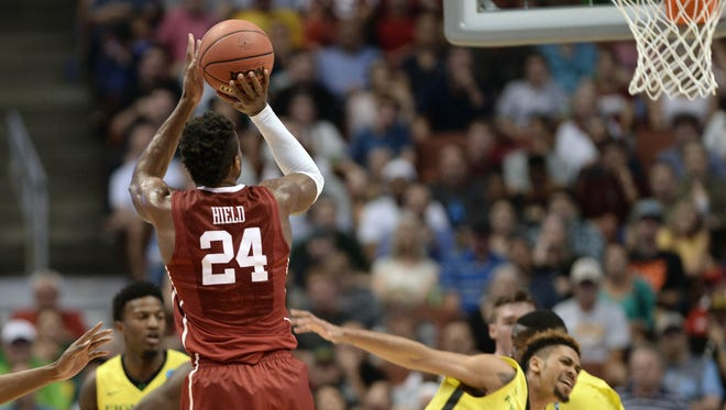 Buddy Hield launches a jumper against Oregon.