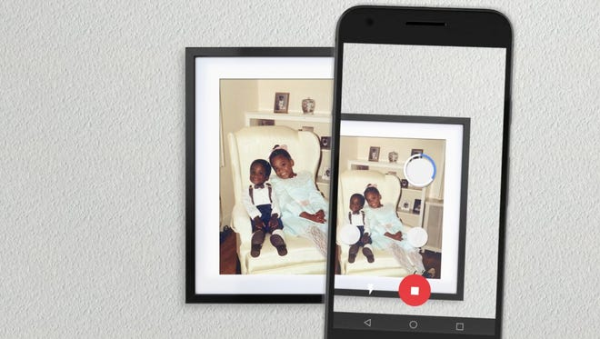 Google's PhotoScan app takes four photos of your photo, using software to help eliminate glare.