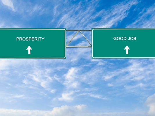 Road sign to  good job and prosperity