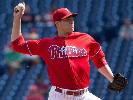 A lat strain has put Phillies starter and Mater Dei grad Jerad Eickhoff on the shelf indefinitely.