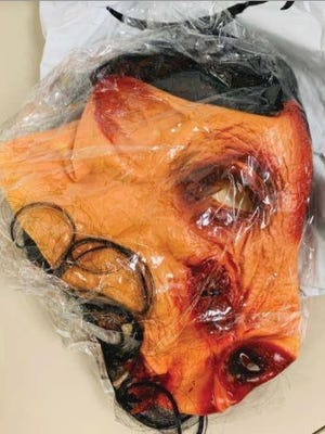 Former eBay employees allegedly sent this bloody pig mask to a Natick couple as part of an harassment campaign.