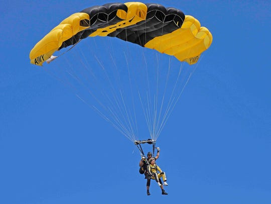 Clarksville Mayor Kim McMillan jumped with the Army's