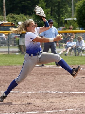Emily Hess delivers a pitch for Maine-Endwell during a 1-0 win over Williamsville East in the Class A state final Saturday at Moreau Recreational Park in South Glens Falls.