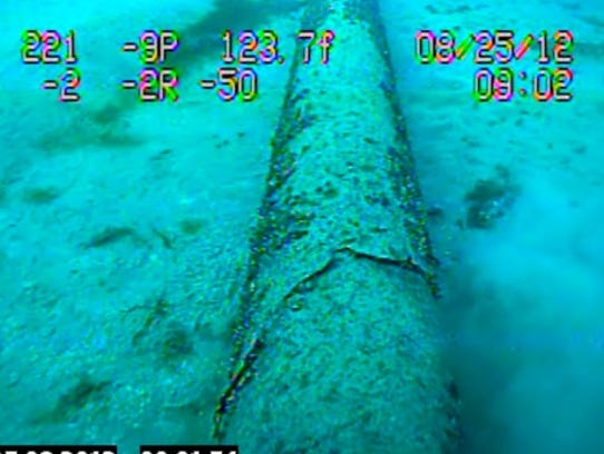 Still image from an Enbridge underwater inspection