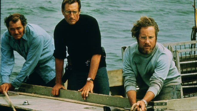 """Jaws"" will be shown Wednesday at the new Popcorn Pop-Up Drive-In movie theater being set up in Dennis in the parking lot at Cape Playhouse, Cape Cinema and Cape Cod Museum of Art. Shown are, from left, Robert Shaw, Roy Scheider and Richard Dreyfuss."