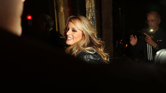 The actress Stephanie Clifford, who uses the stage name Stormy Daniels, arrives to perform at the Solid Gold Fort Lauderdale strip club on March 9, 2018 in Pompano Beach, Fla.