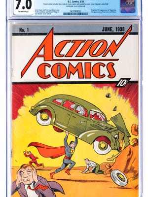 This image released by Profiles in History shows a June 1938 Action Comics #1 issue, one of many Superman items up for auction on Dec. 19 in Los Angeles.