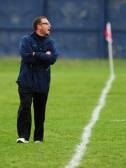 Stayton head coach Chris Shields on the sideline against Philomath during Oct. 27.